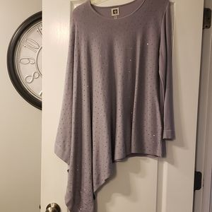 Anne Klein pale purple sweater with sparkles  L